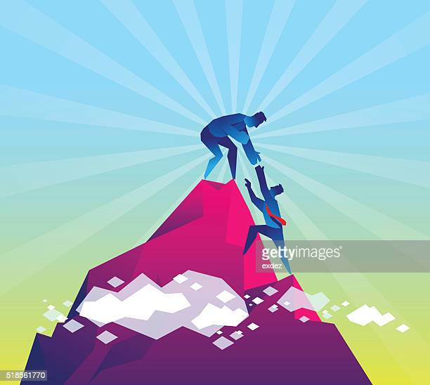 partner for success - mountain peak stock illustrations, clip art, cartoons, & icons