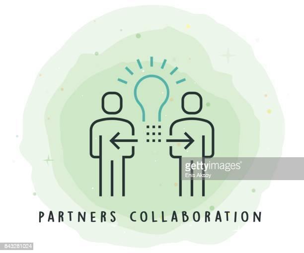 Partners samenwerking pictogram met aquarel Patch