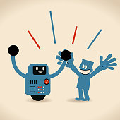 Partnership, Artificial intelligence to benefit people and society. Robot and human holding hands
