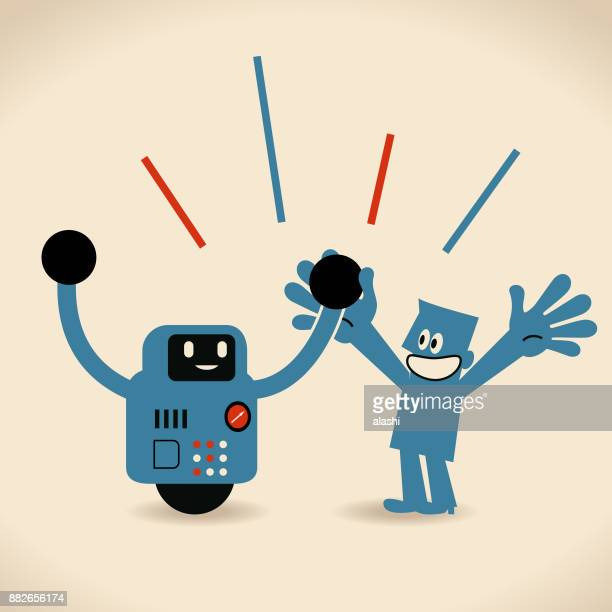 partnership, artificial intelligence to benefit people and society. robot and human holding hands - assistant stock illustrations, clip art, cartoons, & icons