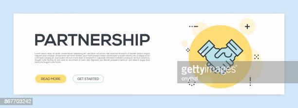 ilustraciones, imágenes clip art, dibujos animados e iconos de stock de concepto de asociación - línea plana web banner - doble exposicion negocios