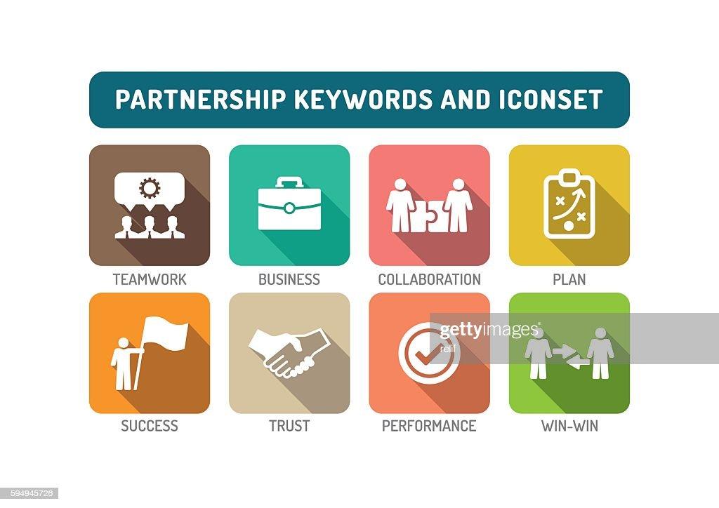Partnership Flat Icon Set