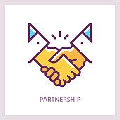 Partnership icon. Handshake concept. Vector linear pictogram.