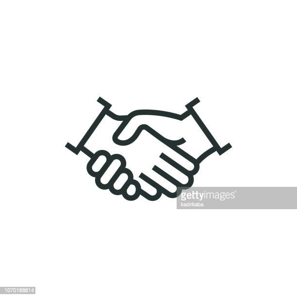 partnership line icon - trust stock illustrations