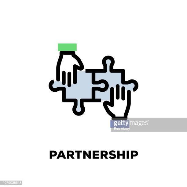 illustrazioni stock, clip art, cartoni animati e icone di tendenza di icona linea partnership - scuotere
