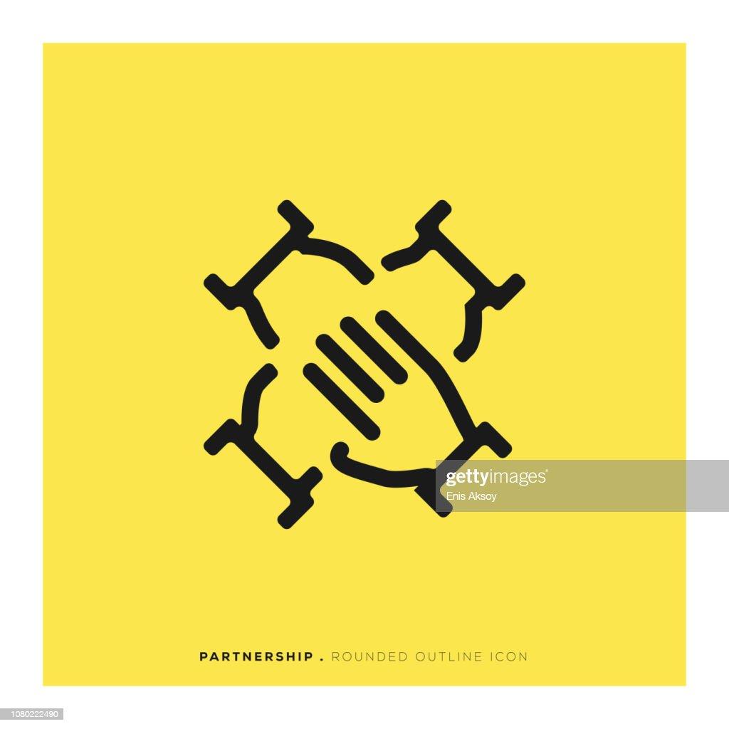 Abgerundete Liniensymbol Partnerschaft : Stock-Illustration