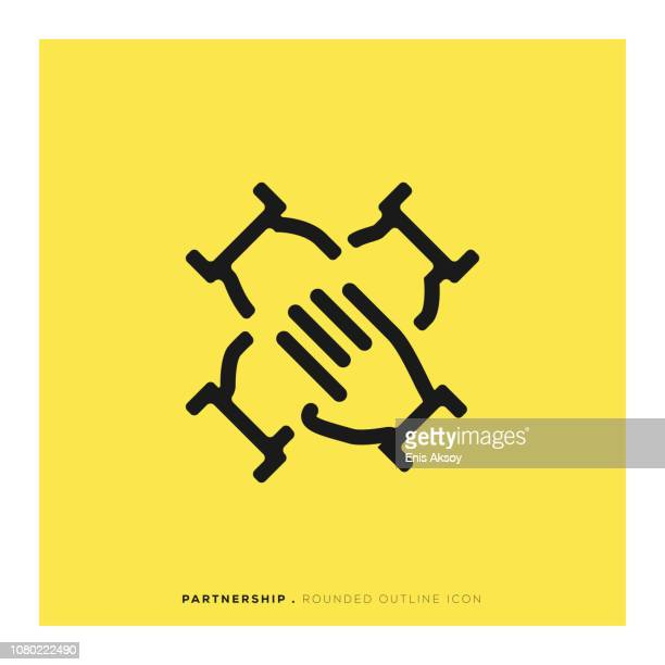 partnership rounded line icon - teamwork stock illustrations