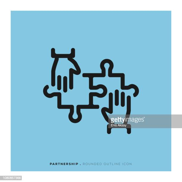 partnership rounded line icon - partnership teamwork stock illustrations