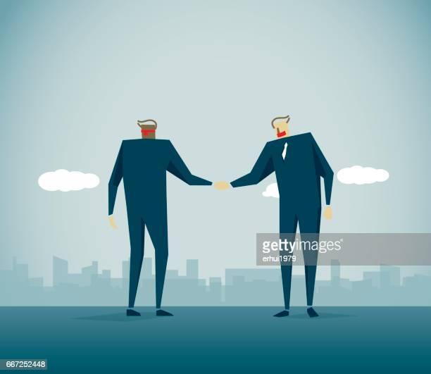 ilustraciones, imágenes clip art, dibujos animados e iconos de stock de asociación - trabajo en equipo - ojos tapados
