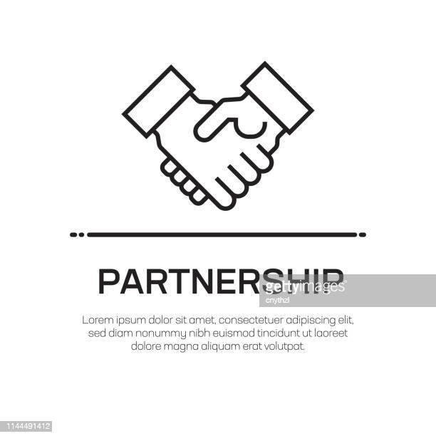 illustrazioni stock, clip art, cartoni animati e icone di tendenza di icona della linea vettoriale partnership - icona semplice linea sottile, elemento di design di qualità premium - scuotere