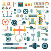 Parts of machinery flat icons vector set