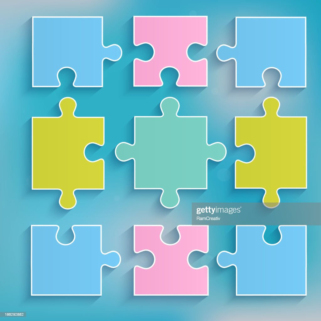 Parts of multi-colored puzzles.