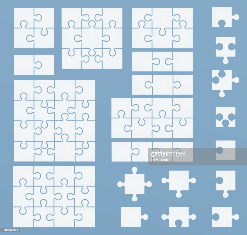 Parts of puzzles on blue template.