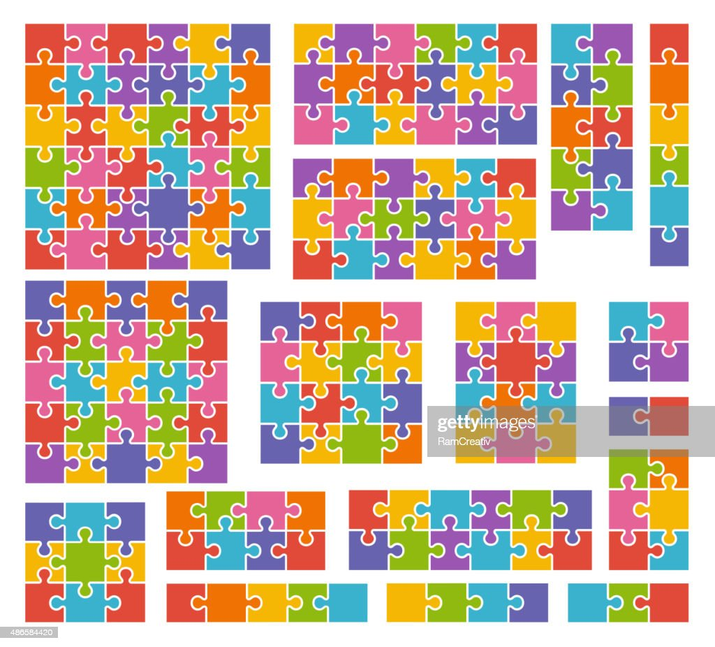 Parts of puzzles on white background in colored colors.