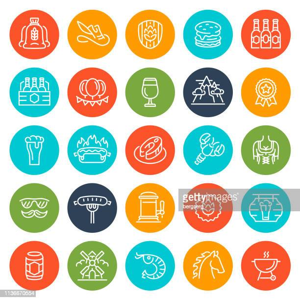 party and beer festival round icons. octoberfest concept collection - artisanal food and drink stock illustrations, clip art, cartoons, & icons
