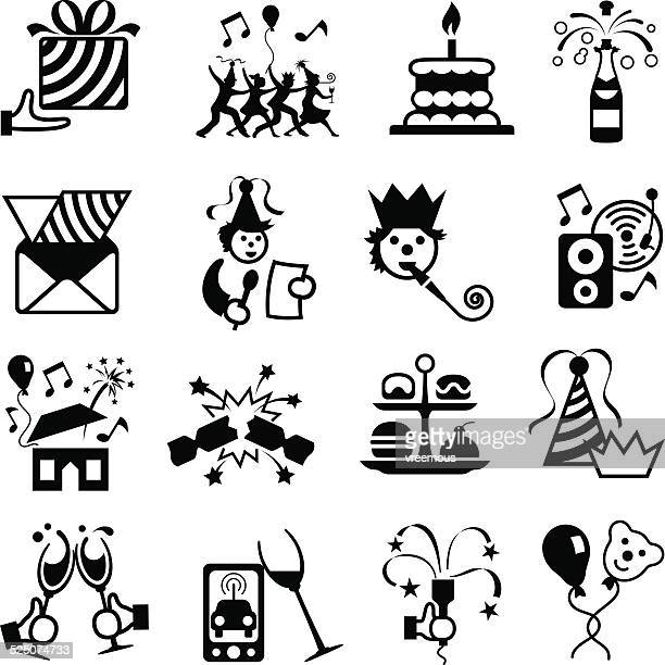 party and celebration icon set - cracker snack stock illustrations, clip art, cartoons, & icons