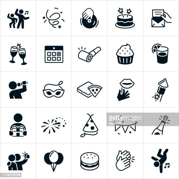 party and celebration icons - karaoke stock illustrations