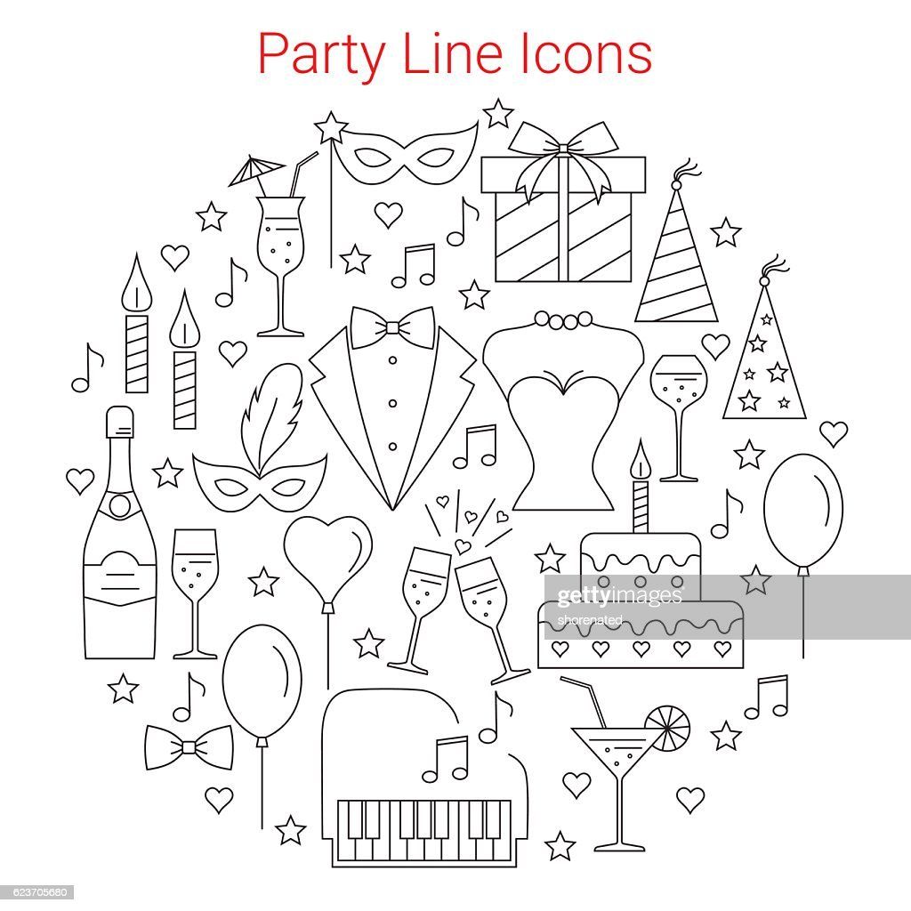 Party and celebration  vector icons set.