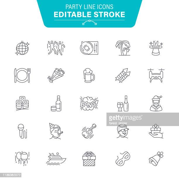 party and dance line icons - karaoke stock illustrations