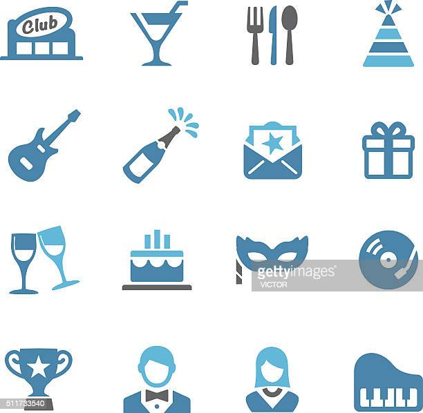 party and dinner icons - conc series - party social event stock illustrations, clip art, cartoons, & icons
