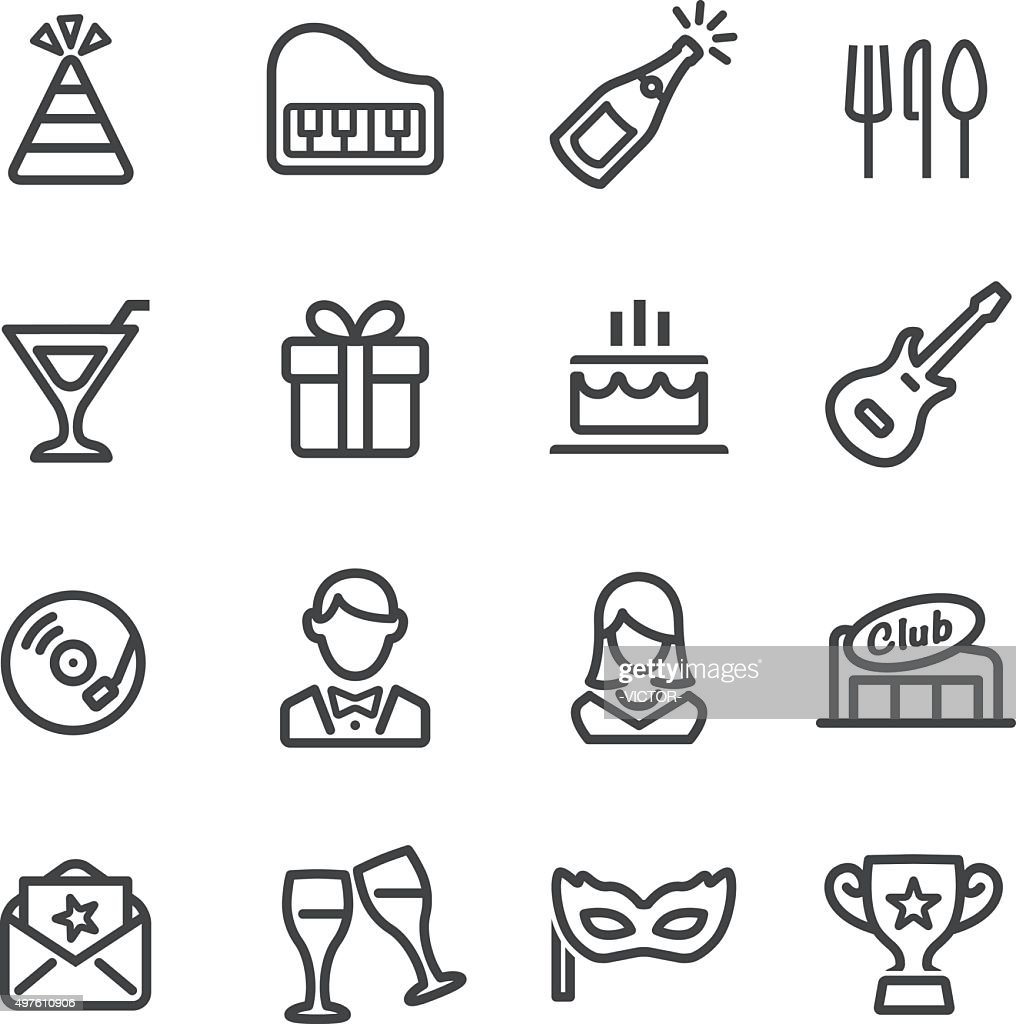 Party and Dinner Icons - Line Series