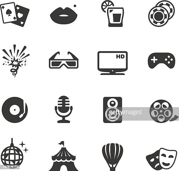 Party and entertainment icons vector illustrations