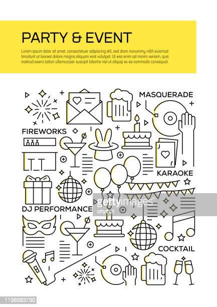 年次報告書、チラシ、パンフレットのためのパーティーやイベントのコンセプトラインスタイルカバーデザイン。