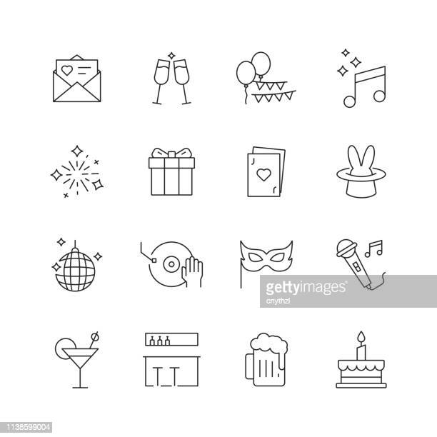 party and event related - set of thin line vector icons - happy hour stock illustrations, clip art, cartoons, & icons