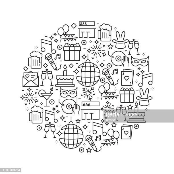 Party et Festive Concept - icônes de ligne noir et blanc, disposé en cercle