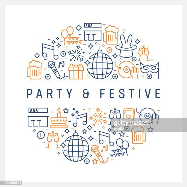 party and festive concept - colorful line icons, arranged in circle - music festival stock illustrations