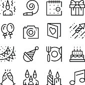 Party and holidays line icons set. Modern graphic design concepts, simple outline elements collection. Vector line icons