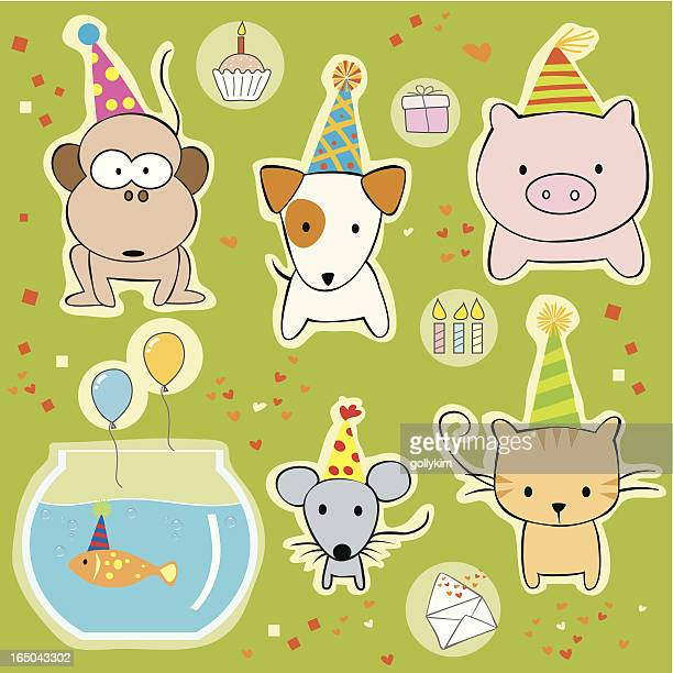 party animals with  hats. - happy birthday cat stock illustrations