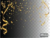 Party background with golden confetti and streamers