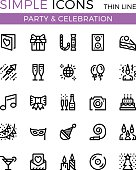 Party, Birthday party, entertainment, holiday celebration vector thin line icons set. 32x32 px. Modern line graphic design for websites, web design, etc. Pixel perfect vector outline icons set