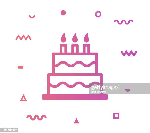 party cake line style icon design - happy birthday banner stock illustrations