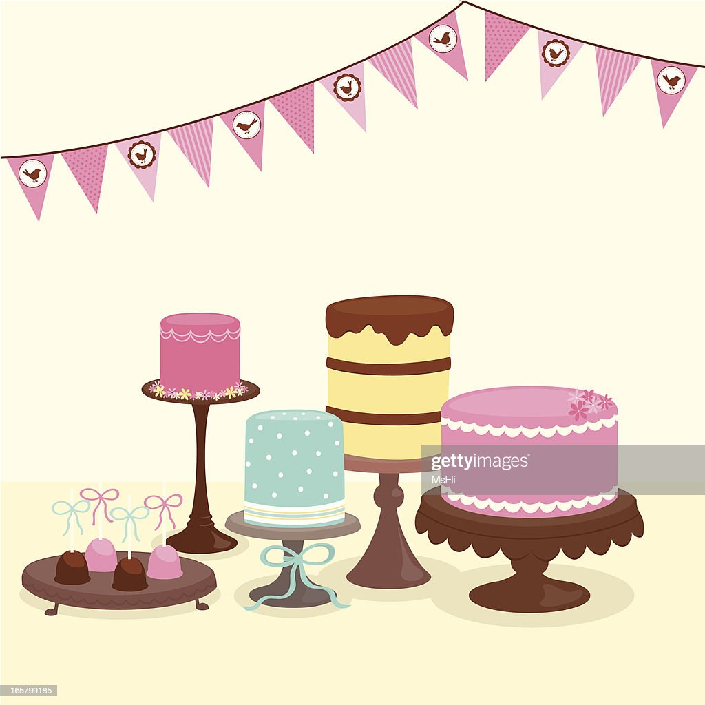 Party cakes with bunting