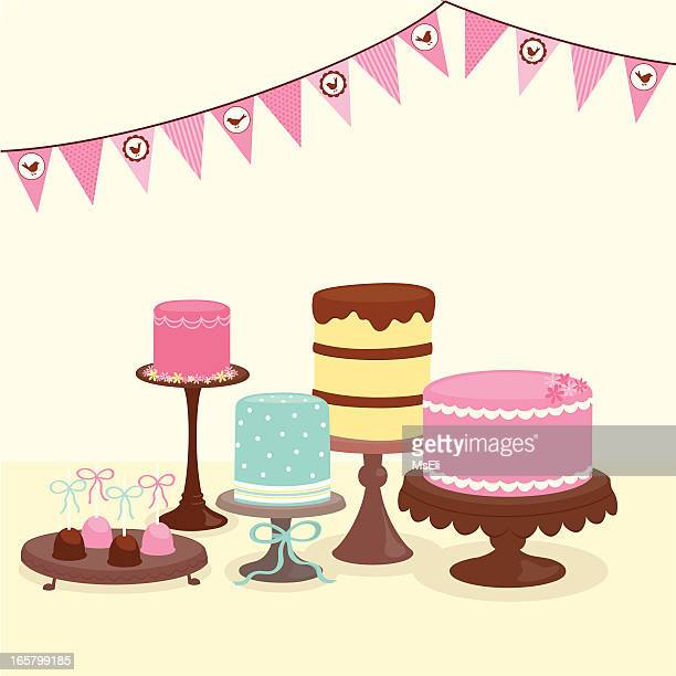 party cakes with bunting - pastry dough stock illustrations, clip art, cartoons, & icons