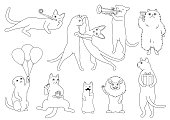 party cats line art set