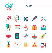 Party, celebration, fireworks, confetti and more, flat icons set