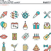 Party, celebration, fireworks, confetti and more, thin line color icons