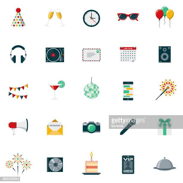 Party & Celebration Flat Design Icon Set