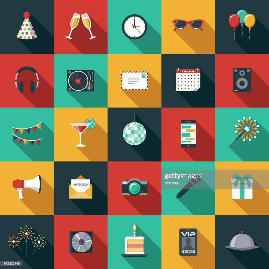 Party & Celebration Flat Design Icon Set with Side Shadow : stock illustration