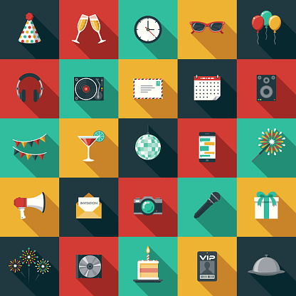 Party & Celebration Flat Design Icon Set with Side Shadow - gettyimageskorea