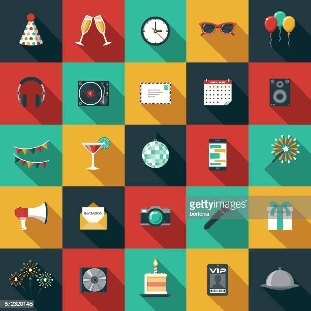 party & celebration flat design icon set with side shadow - group of objects stock illustrations