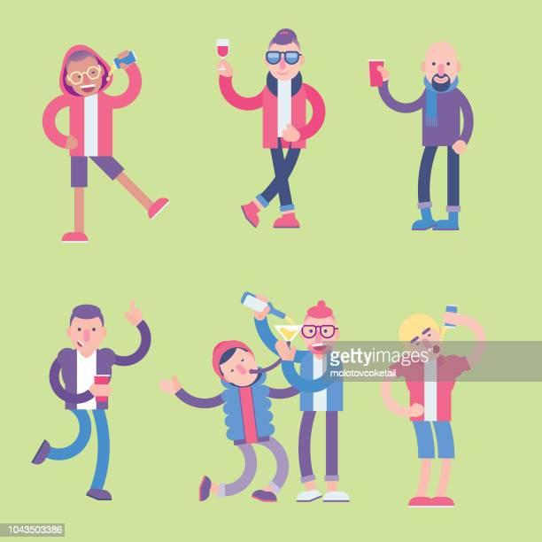 party character set - bong stock illustrations
