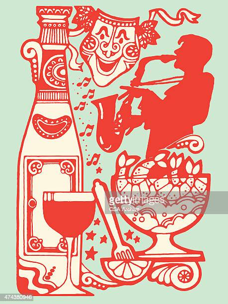 party collage - louisiana stock illustrations, clip art, cartoons, & icons