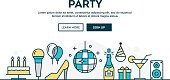 Party, colorful concept header, flat design thin line style