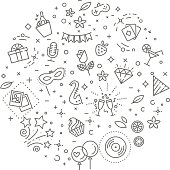 Party concept illustration,line design vector template