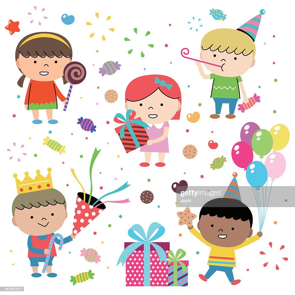 Party Concepts, Joyful Group Of Multi Ethnic Children Celebrating (birthday)