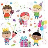 Party Concepts, Joyful Group Of Multi Ethnic Children Celebrating (birthday)